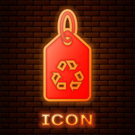Glowing neon Tag with recycle symbol icon isolated on brick wall background. Banner, label, tag, sticker for eco green. Vector Illustration Stock fotó - 134901944