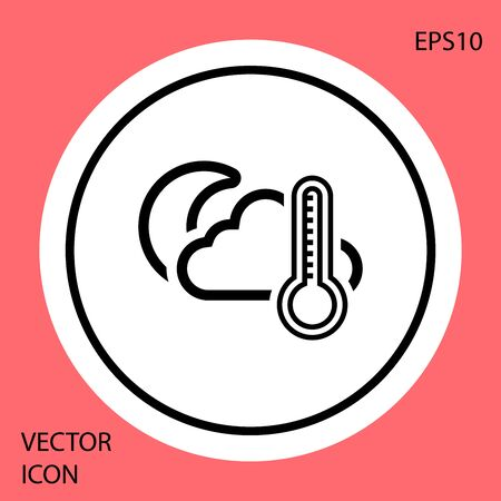 Black Thermometer and cloud with moon icon isolated on red background. White circle button. Vector Illustration