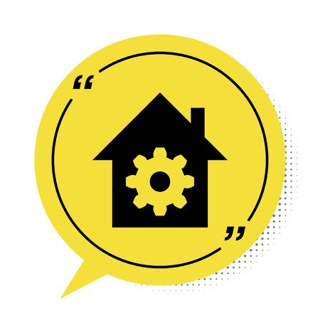 Black Smart home settings icon isolated on white background. Remote control. Yellow speech bubble symbol. Vector Illustration