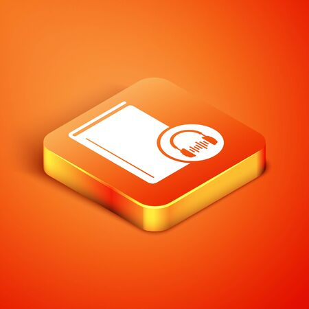 Isometric Audio book icon isolated on orange background. Book with headphones. Audio guide sign. Online learning concept. Vector Illustration 版權商用圖片 - 134893109