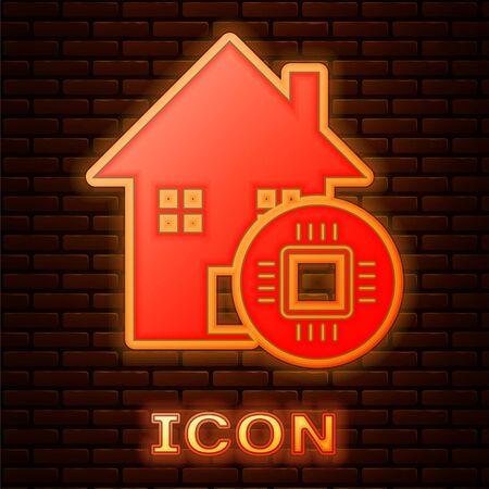Glowing neon Smart home icon isolated on brick wall background. Remote control. Vector Illustration Illusztráció