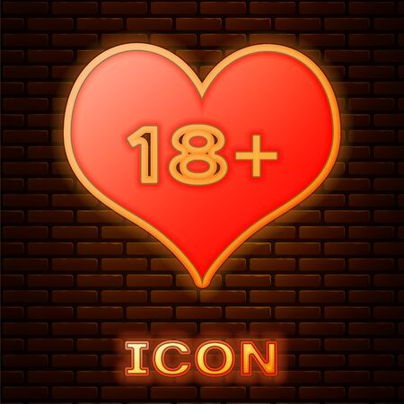 Glowing neon 18 plus content heart icon isolated on brick wall background. Adults content only icon. Vector Illustration Çizim
