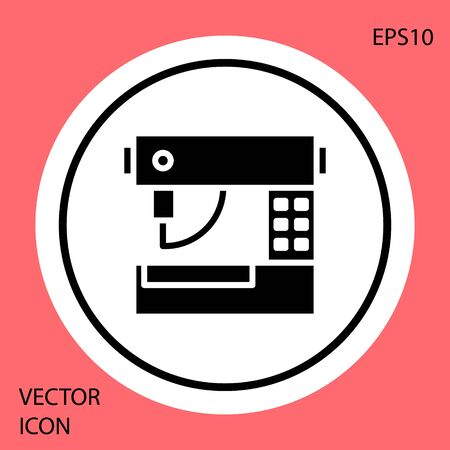 Black Sewing machine icon isolated on red background. White circle button. Vector Illustration