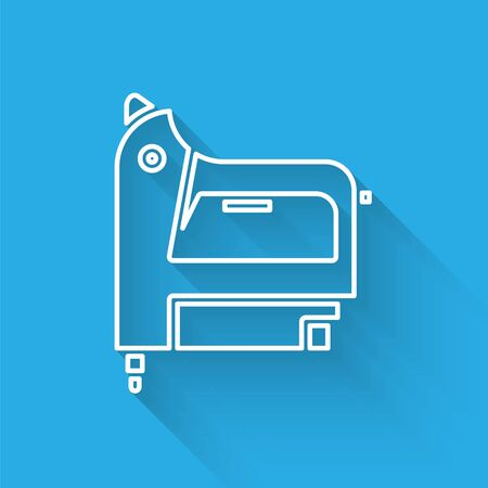 White line Electric construction stapler icon isolated with long shadow. Working tool. Vector Illustration