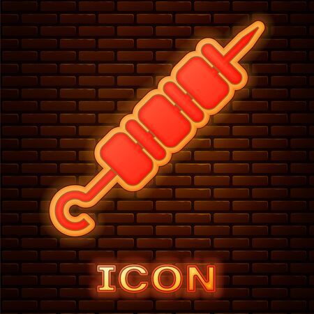 Glowing neon Grilled shish kebab on skewer stick icon isolated on brick wall background. Meat kebab on skewer stick. Picnic with grilled meat. Vector Illustration