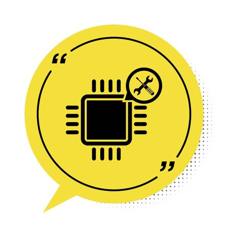 Black Processor with screwdriver and wrench icon isolated on white background. Adjusting, service, setting, maintenance, repair, fixing. Yellow speech bubble symbol. Vector Illustration