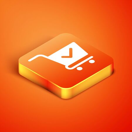Isometric Shopping cart with check mark icon isolated on orange background. Supermarket basket with approved, confirm, done, tick, completed symbol. Vector Illustration Illusztráció