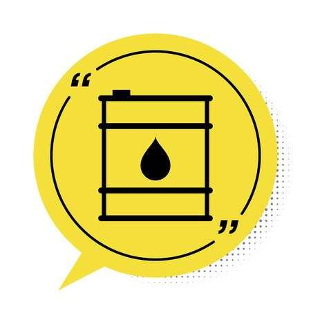 Black Oil barrel line icon isolated on white background. Oil drum container. For infographics, fuel, industry, power, ecology. Yellow speech bubble symbol. Vector Illustration