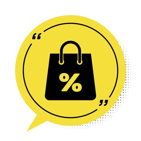 Black Shoping bag with an inscription percent discount icon isolated on white background. Handbag sign. Woman bag icon. Female handbag sign. Yellow speech bubble symbol. Vector Illustration