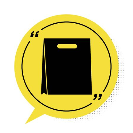Black Paper shopping bag icon isolated on white background. Package sign. Yellow speech bubble symbol. Vector Illustration
