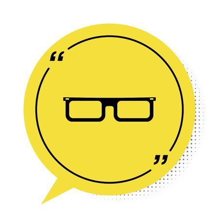 Black Glasses icon isolated on white background. Eyeglass frame symbol. Yellow speech bubble symbol. Vector Illustration