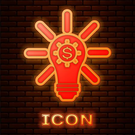 Glowing neon Light bulb with gear inside and dollar symbol icon isolated on brick wall background. Fintech innovation concept. Vector Illustration Ilustracja