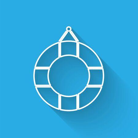 White line Lifebuoy icon isolated with long shadow. Lifebelt symbol. Vector Illustration Stock fotó - 134901961