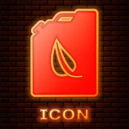 Glowing neon Bio fuel canister icon isolated on brick wall background. Eco bio and barrel. Green environment and recycle. Vector Illustration 向量圖像