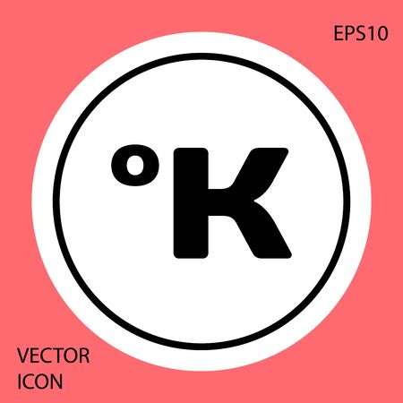 Black Kelvin icon isolated on red background. White circle button. Vector Illustration