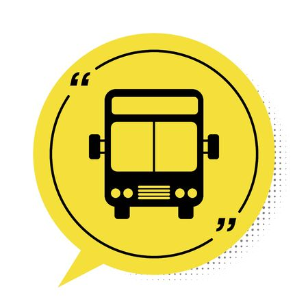 Black Bus icon isolated on white background. Transportation concept. Bus tour transport sign. Tourism or public vehicle symbol. Yellow speech bubble symbol. Vector Illustration
