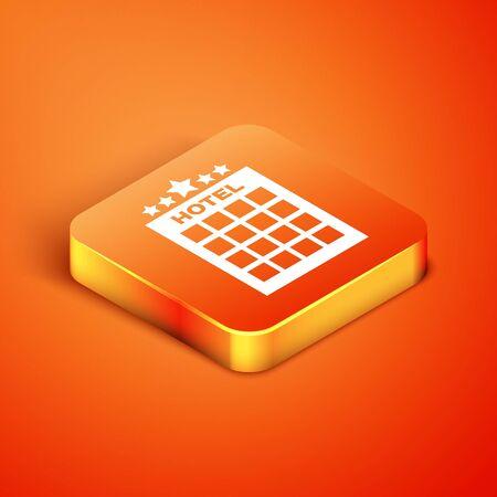 Isometric Hotel building icon isolated on orange background. Vector Illustration