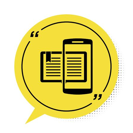Black Smartphone and book icon isolated on white background. Online learning or e-learning concept. Yellow speech bubble symbol. Vector Illustration
