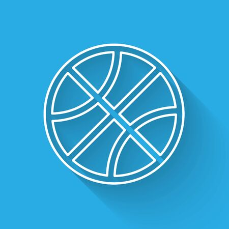 White line Basketball ball icon isolated with long shadow. Sport symbol. Vector Illustration Stock fotó - 134901969