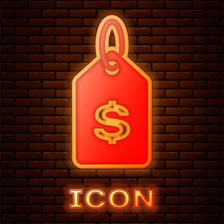 Glowing neon Price tag with dollar icon isolated on brick wall background. Badge for price. Sale with dollar symbol. Promo tag discount. Vector Illustration Stock fotó - 134901970