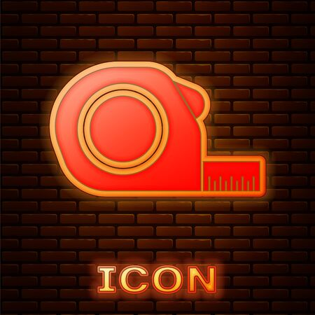 Glowing neon Roulette construction icon isolated on brick wall background. Tape measure symbol. Vector Illustration Stock fotó - 134901971
