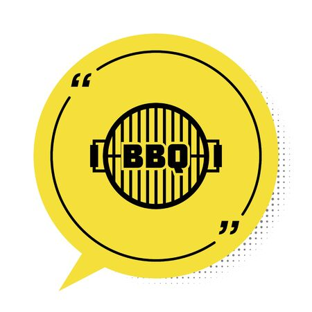 Black Barbecue grill icon isolated on white background. Top view of BBQ grill. Steel grid. Yellow speech bubble symbol. Vector Illustration
