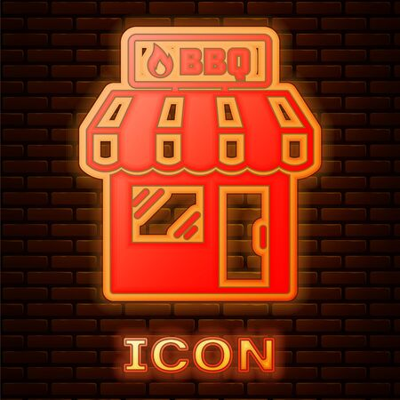 Glowing neon Barbecue shopping building or market store icon isolated on brick wall background. BBQ grill party. Shop construction. Vector Illustration Illusztráció