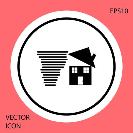Black Tornado swirl damages house roof icon isolated on red background. Cyclone, whirlwind, storm funnel, hurricane wind icon. White circle button. Vector Illustration