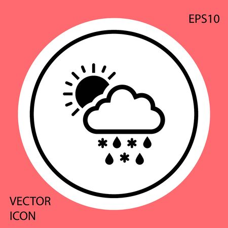 Black Cloud with snow, rain and sun icon isolated on red background. Weather icon. White circle button. Vector Illustration