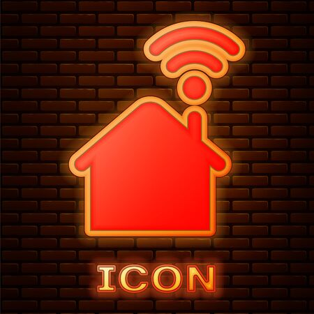 Glowing neon Smart home with icon isolated on brick wall background. Remote control. Vector Illustration Stock fotó - 134901906