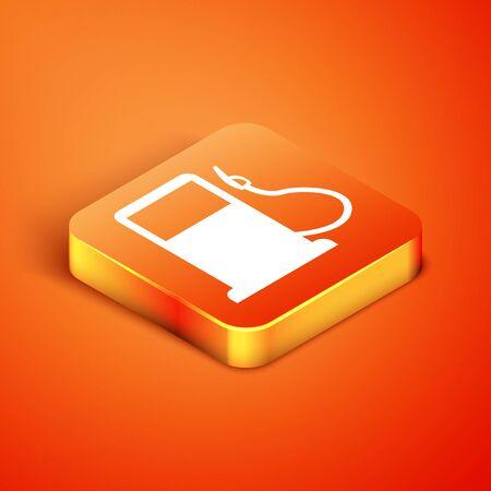 Isometric Petrol or Gas station icon isolated on orange background. Car fuel symbol. Gasoline pump. Vector Illustration Stock fotó - 134901911