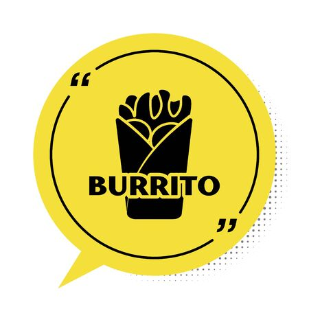 Black Burrito icon isolated on white background. Traditional mexican fast food. Yellow speech bubble symbol. Vector Illustration Stock fotó - 134901913