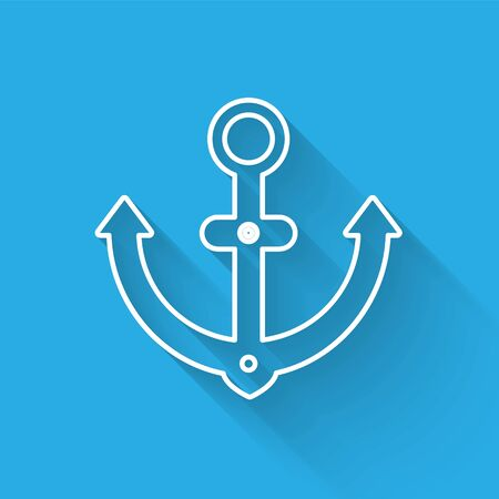 White line Anchor icon isolated with long shadow. Vector Illustration Illusztráció