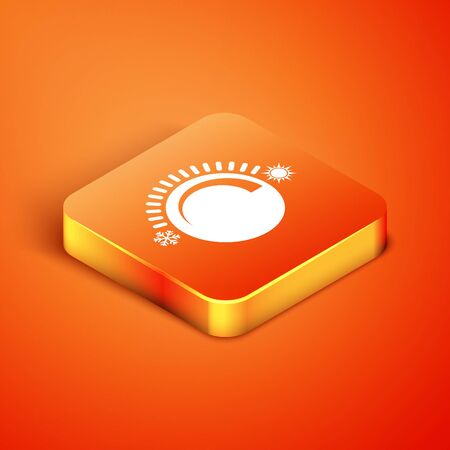 Isometric Thermostat icon isolated on orange background. Temperature control. Vector Illustration