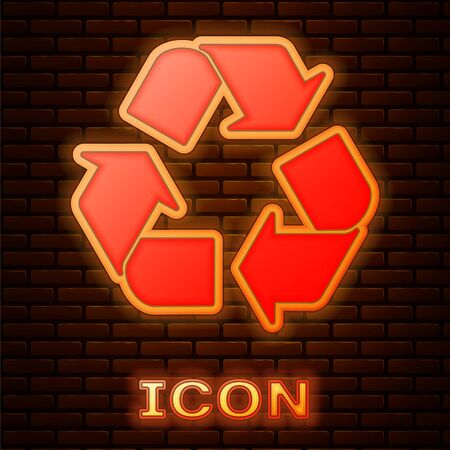 Glowing neon Recycle symbol icon isolated on brick wall background. Circular arrow icon. Environment recyclable go green. Vector Illustration