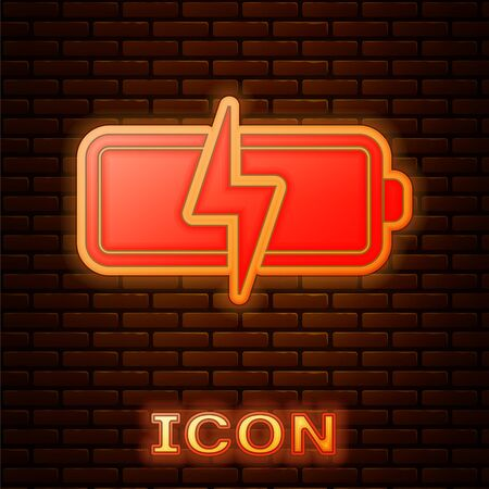 Glowing neon Battery icon isolated on brick wall background. Lightning bolt symbol. Vector Illustration Stock fotó - 134901919