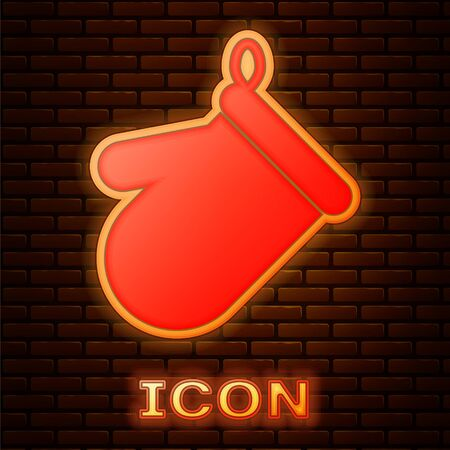 Glowing neon Oven glove icon isolated on brick wall background. Kitchen potholder sign. Cooking glove. Vector Illustration