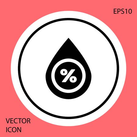Black Water drop percentage icon isolated on red background. Humidity analysis. White circle button. Vector Illustration Illusztráció