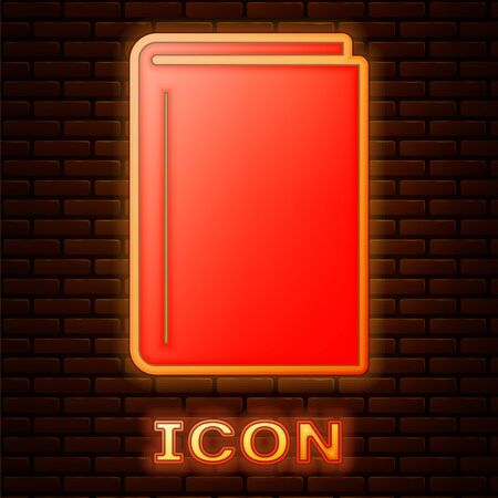 Glowing neon Book icon isolated on brick wall background. Vector Illustration 版權商用圖片 - 134901927