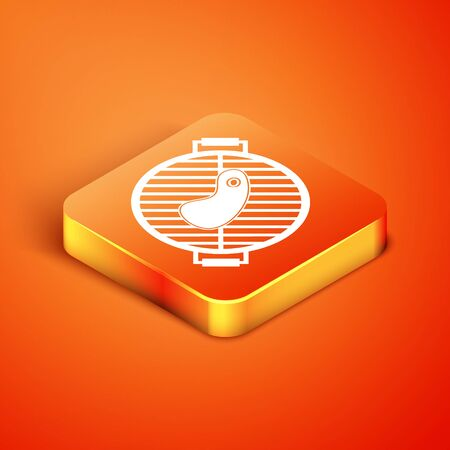 Isometric Barbecue grill with steak icon isolated on orange background. BBQ grill party. Vector Illustration Stock fotó - 134901928