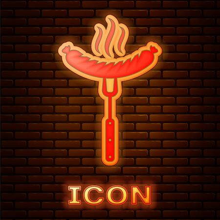 Glowing neon Sausage on the fork with steam icon isolated on brick wall background. Grilled sausage and aroma sign. Vector Illustration Stock fotó - 134901929