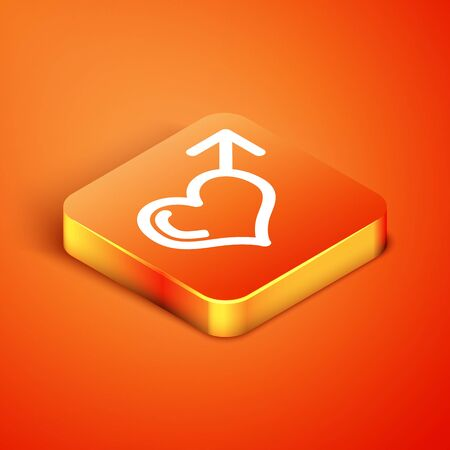 Isometric Male gender symbol and heart icon isolated on orange background. Vector Illustration Stock fotó - 134901930