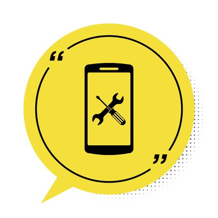 Black Smartphone with screwdriver and wrench icon isolated on white background. Adjusting, service, setting, maintenance, repair, fixing. Yellow speech bubble symbol. Vector Illustration Stock fotó - 134901931