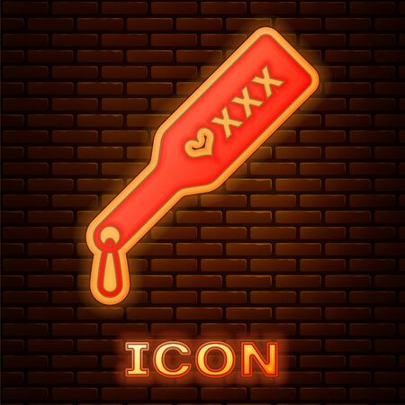 Glowing neon Spanking paddle icon isolated on brick wall background. Fetish accessory. Sex toy for adult. Vector Illustration Vectores