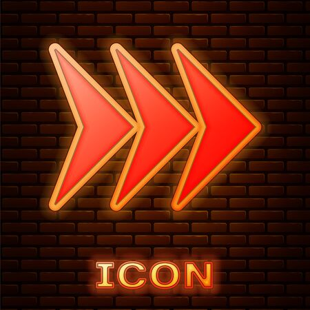 Glowing neon Arrow icon isolated on brick wall background. Direction Arrowhead symbol. Navigation pointer sign. Vector Illustration Stock fotó - 134901882