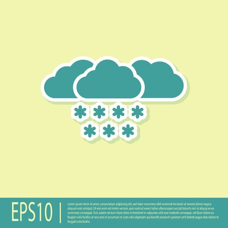 Green Cloud with snow icon isolated on yellow background. Cloud with snowflakes. Single weather icon. Snowing sign. Vector Illustration Illusztráció