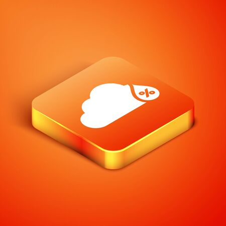 Isometric Humidity icon isolated on orange background. Weather and meteorology, cloud, thermometer symbol. Vector Illustration
