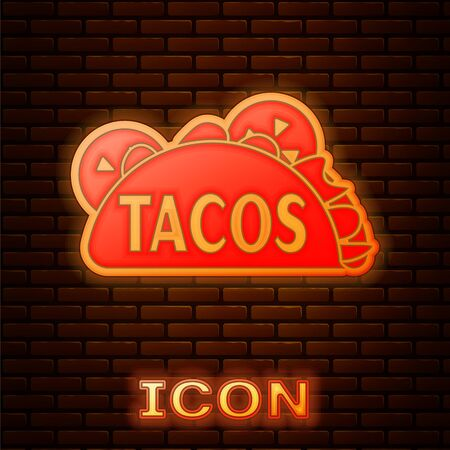 Glowing neon Taco with tortilla icon isolated on brick wall background. Traditional mexican fast food. Vector Illustration Illusztráció