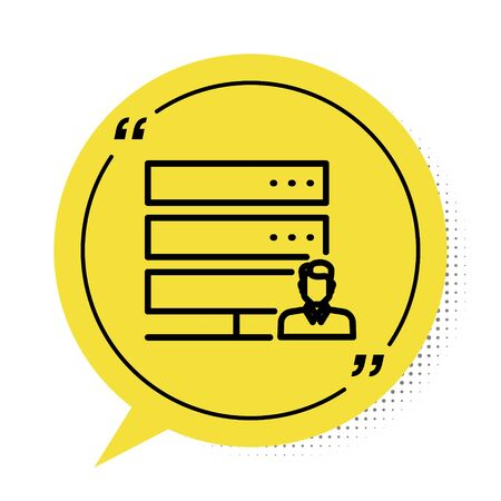 Black Customer care server icon isolated on white background. Tech support concept with male operator. Call center sign. Yellow speech bubble symbol. Vector Illustration Illusztráció
