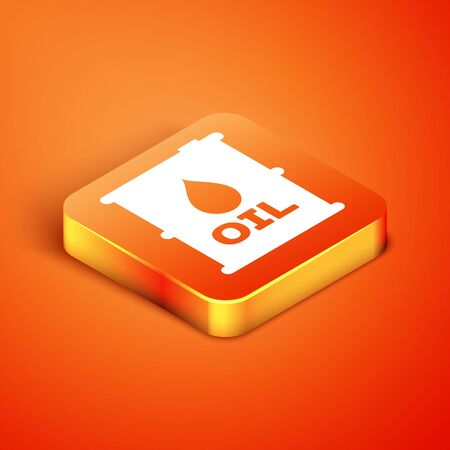 Isometric Oil barrel icon isolated on orange background. Oil drum container. For infographics, fuel, industry, power, ecology. Vector Illustration Stock fotó - 134901891